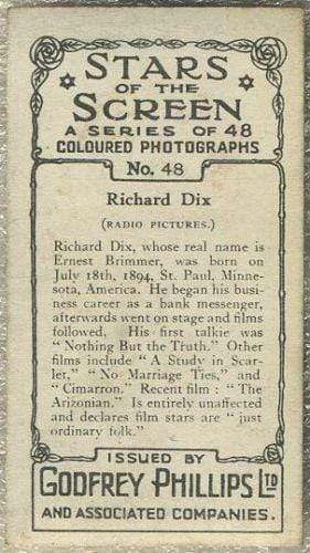 Richard Dix 1936 Godfrey Phillips Stars of the Screen Tobacco Card #48