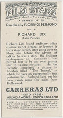 Richard Dix 1936 Carreras Film Stars by Desmond Trading Card #9
