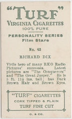 Richard Dix 1933 Turf Personality Series Film Stars Trading Card #42