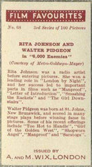 Rita Johnson + Walter Pidgeon 1939 A & M Wix Film Favourites Tobacco Card #68