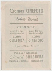 Robert Donat 1930s Editorial Bruguera Cinefoto Paper Stock Trading Card #10