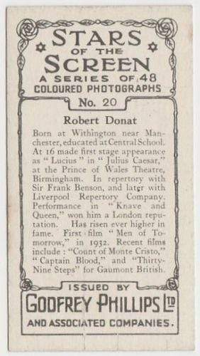 Robert Donat 1936 Godfrey Phillips Stars of the Screen Tobacco Card #20