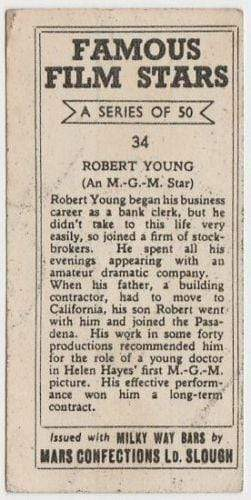 Robert Young 1939 Mars Confections Famous Film Stars Trading Card #34
