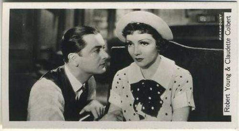 Robert Young + Claudette Colbert 1937 John Sinclair Film Stars Tobacco Card #79