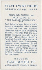 Rosalind Russell + Paul Lukas 1935 Gallaher Film Partners Trading Card #44