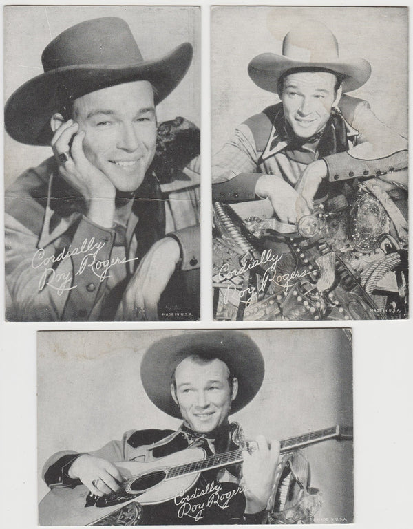 Lot of 10 stained ROY ROGERS Exhibit Supply Company Arcade Cards 1940s 1950s