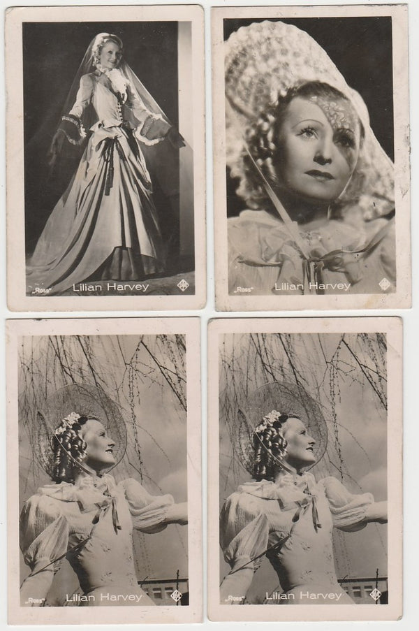 Lot of 4 LILIAN HARVEY 1930s Vintage ROSS Film Stars Real Photo Trading Cards