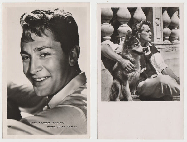 Lot of 5 1950s FILM STARS Real Photo Postcards from Paris RPPC One with Dog