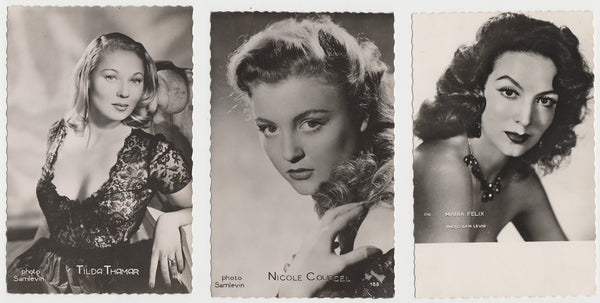 Lot of 9 1950s FILM STARS Deckled Edge Real Photo Postcards from Paris RPPC