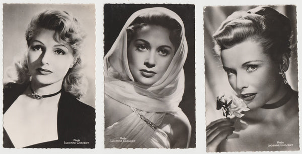 Lot of 12 1950s FILM STARS Deckled Edge Real Photo Postcards from Paris RPPC