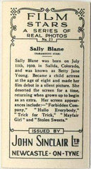 Sally Blane 1937 John Sinclair Film Stars Tobacco Card #27
