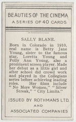 Sally Blane 1939 Rothmans Beauties of the Cinema Movie Star Trading Card