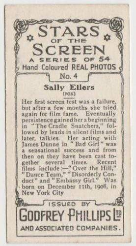 Sally Eilers 1934 Godfrey Phillips Stars of the Screen Tobacco Card #4