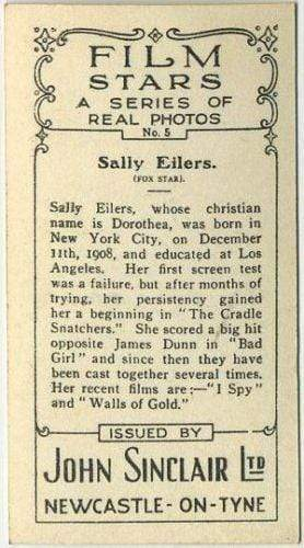 Sally Eilers 1937 John Sinclair Film Stars Tobacco Card #5