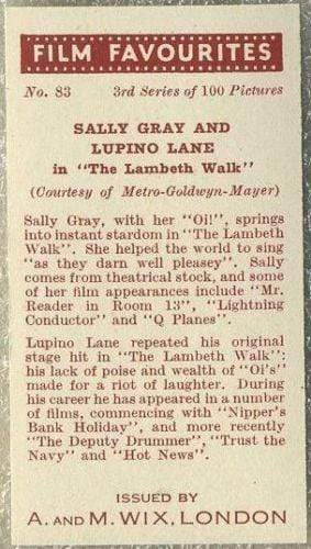 Sally Gray + Lupino Lane 1939 A & M Wix Film Favourites Tobacco Card #83