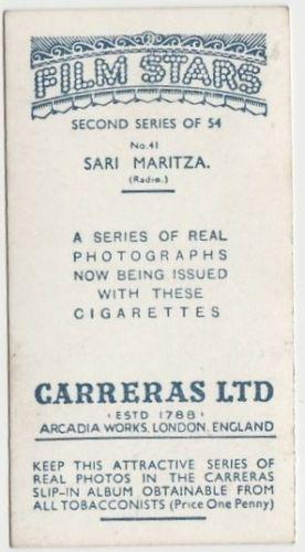 Sari Maritza 1938 Carreras Film Stars Trading Card Second Series #41