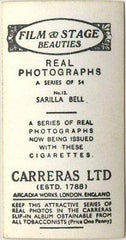 Sarilla Bell 1939 Carreras Film & Stage Beauties Tobacco Card #12