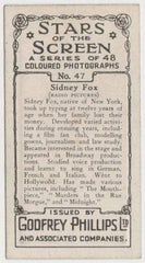 Sidney Fox 1936 Godfrey Phillips Stars of the Screen Tobacco Card #47