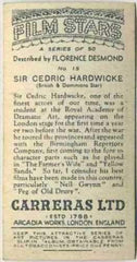 Sir Cedric Hardwicke 1936 Carreras Film Stars by Desmond Tobacco Card #15