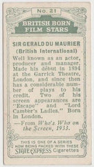 Sir Gerald Du Maurier 1934 Ardath British Born Film Stars Tobacco Card #21