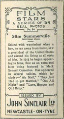 Slim Summerville 1934 John Sinclair Film Stars Tobacco Card #34