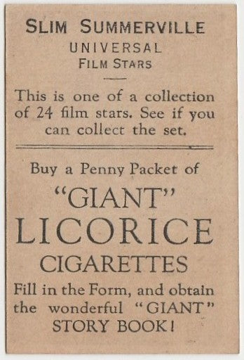 Slim Summerville 1932 Australian Giant Licorice Film Stars Trading Card