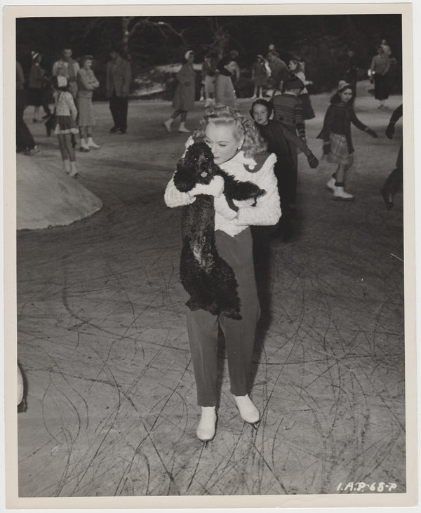Sonja Henie w/her French Poodle on 1945 8x10 Still Photo with Paper Press Tag