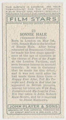 Sonnie Hale 1934 John Player Film Stars Tobacco Card 2nd Series #23