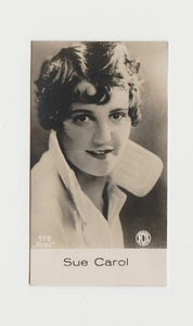 Sue Carol 1933 Abdulla Cinema Stars Tobacco Card - Blank Back