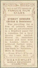Sydney Howard 1934 Wills Famous Film Stars Tobacco Card #79 - Standard Size