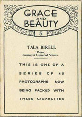 Tala Birell 1938 BAT Grace and Beauty Tobacco Card #5