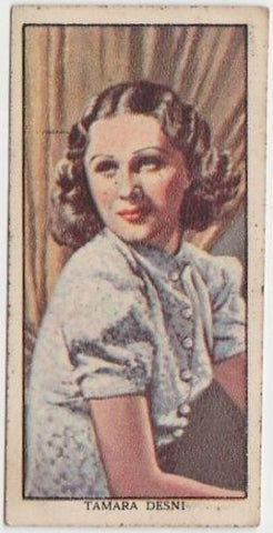 Tamara Desni 1939 Mars Confections Famous Film Stars Trading Card #48