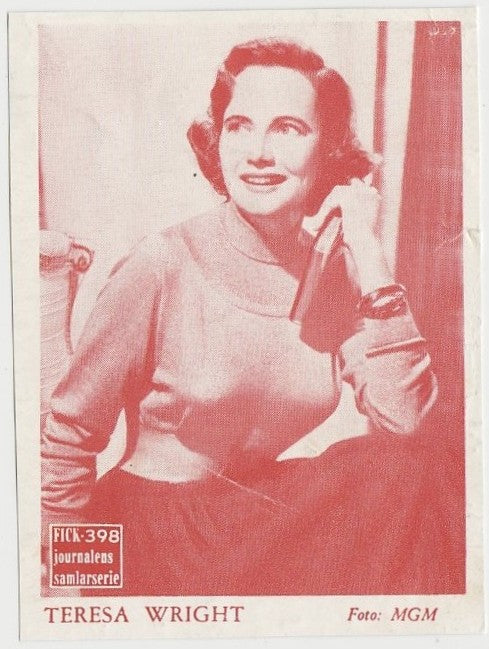 Teresa Wright 1940s Paper Stock Trading Card - Film Frame Design
