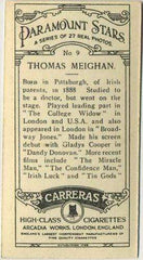 Thomas Meighan 1929 Carreras Paramount Stars Tobacco Card #9 Film Star