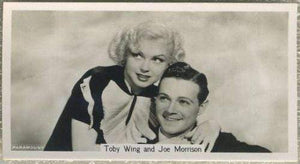 Toby Wing + Joe Morrison 1937 John Sinclair Film Stars Tobacco Card #70