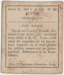 Tom Moore 1920s Super Cigarrillos Trading Card #0-90