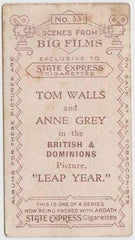 Tom Walls + Anne Grey 1935 Ardath SCENES FROM BIG FILMS Tobacco Card #53