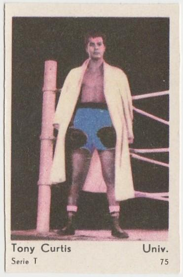 Tony Curtis BOXING POSE 1958 Film Star PAPER STOCK Dutch Gum Trading Card #75