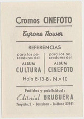 Tyrone Power 1930s Editorial Bruguera Cinefoto Paper Stock Trading Card #10