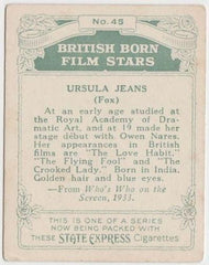 Ursula Jeans 1934 ARDATH British Born Film Stars Tobacco Card #45 LARGE