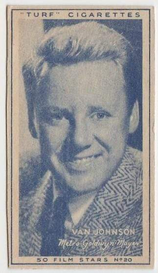 Van Johnson Vintage 1947 Carreras Turf Film Stars Tobacco Card #20