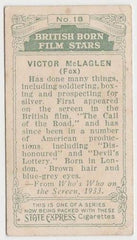 Victor McLaglen 1934 Ardath British Born Film Stars Tobacco Card #18