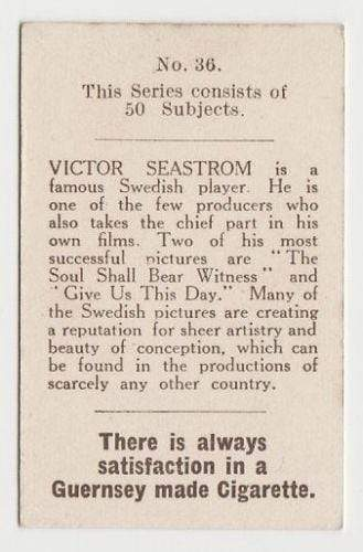 Victor Seastrom 1923 Bucktrout Cinema Stars Tobacco Card #36