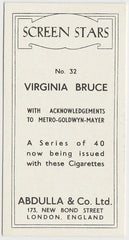 Virginia Bruce 1939 Abdulla Screen Stars Trading Card #32