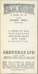 Wanda Perry 1937 Carreras Film Stars Tobacco Card #20