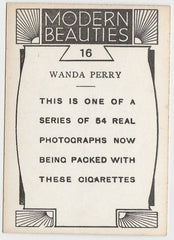 Wanda Perry 1930s BAT Modern Beauties MD Trading Card Series 1 #16