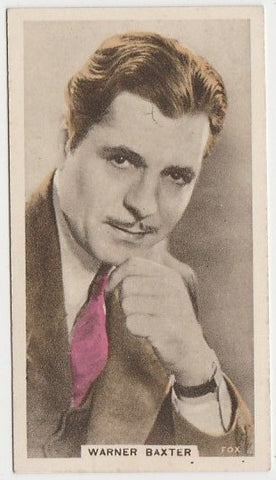 Warner Baxter 1930s Aguila Large Paper Stock Trading Card #24
