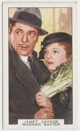 Warner Baxter + Janet Gaynor 1935 Gallaher Film Partners Tobacco Card #17