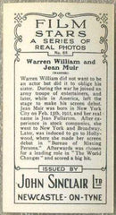 Warren William + Jean Muir 1937 John Sinclair Film Stars Tobacco Card #65