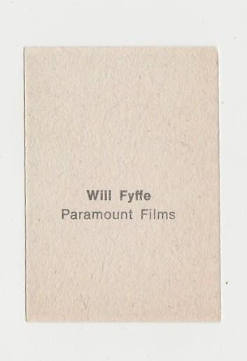Will Fyffe 1940s Paper Stock Trading Card - Film Frame Design